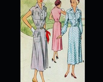 Vintage 50s Classic Wing Collar Shirtwaist Dress Sewing Pattern w/ Pockets 7978 B36