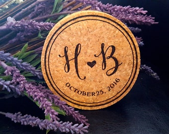 Personalized Cork Coasters, Custom Engraved Natural Cork Coasters, Monogram Coasters, Wedding Coasters, wedding favor SET of 4 (1214)