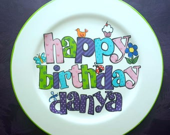 BIRTHDAY PLATE Cupcake plate, cake plate, 1st birthday, happy birthday plate, personalized birthday plate- Birthday Gift-Girl birthday plate