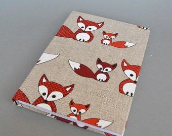 Writing Journal /  Handmade Sketchbook / Handmade Journal / Unique Journal /  Notebook /  Diary /  A5. 8 x 6 inch from linen Foxes