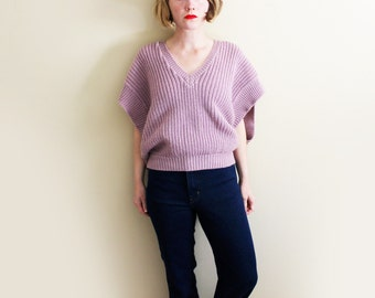 vintage sweater 80s mauve pink womens clothing knit top 1980s oversized chunky size large l