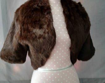 Shine New York, Rabbit Fur jacket, real fur, brown, medium