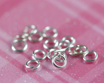 4mm Sterling Silver Open Jump Rings 22 Gauge, 50 pcs Bulk Jumprings, 925 Sterling Silver