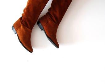 Vintage Suede Leather Boots Warm Boots Caramel Brown Boots Cognac Brown Boots Genuine Leather Boots Cowboy Boots Size US 6.5 EU 37