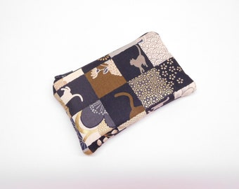 brown gold cat change purse, coin purse with cat, cat zipper pouch, zipper bag, small cat wallet, black brown card holder, japanese print