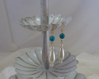 """Genuine Turquoise-""""Roman Pearl"""" Drop Earrings, Gold-Plated Earwires, Civil War Appropriate - Affordable Elegance"""