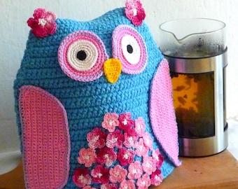 Crochet Tea Pot Cozy - Owl Tea Pot Cozy - Crochet Cozy - Blue Owl Cozy - Crochet Blue Owl - Tea Pot Cosy - Gift for Mom - Gift for Grandma