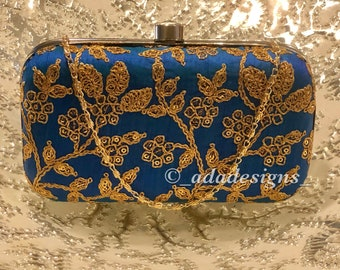 Royal Blue Clutch with Gold Heavy Work