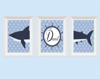 Shark Nursery Decor Personalized Name Navy Blue Wall Art Ocean Boy's Room Print of 3-8X10 Kids Room Baby's Room Decor