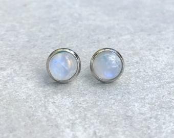 Moonstone earrings studs, Rainbow moonstone earrings, Gemstone earrings, Moonstone jewelry, Boho jewelry, Boho girlfriend gift for her