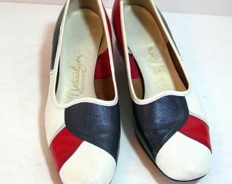 Vintage Spectator Pumps Naturalizer Funsters Red, White And Blue Shoes Size 8 1/2 Americana