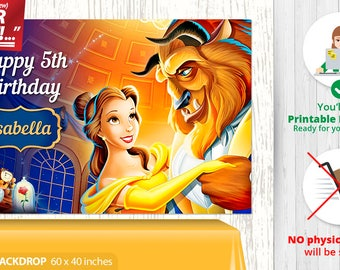 Beauty and the Beast BACKDROP, Beauty and the Beast Birthday Backdrop, Beauty and the Beast Party Backdrop, Beauty and the Beast Banner, v1