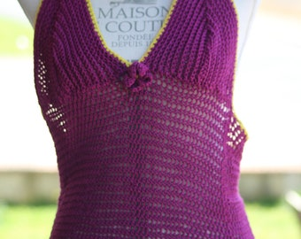 Purple and lime green Halter crocheted in cotton