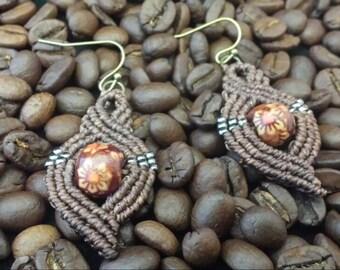 Dark mocha swirl beaded macrame earrings