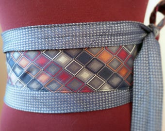 Be Square - Vintage Upcycled Silk Ties Obi Wide Belt Blue Orange Red