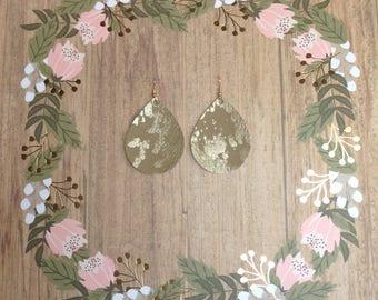 Large teardrop faux leather earrings