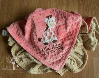 Giraffe Personalized Minky Baby Blanket, Personalized Minky Baby Blanket, Coral and Tan Giraffe Appliqued Blanket, Giraffe Minky Blanket