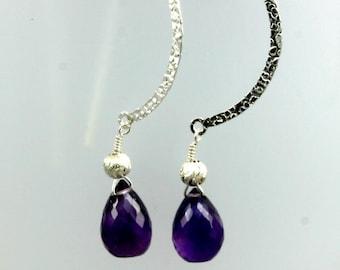 Sterling Silver and Amethyst Dangle Earrings