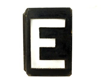 """Vintage Metal Letter """"E"""" Moonglo Marquee Letter, 13"""" tall (c.1900s) - Industrial Home Decor, Typography Collectible"""