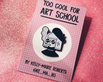 Too Cool for Art School Pin - Soft Enamel Pin - Artist - Beatnik - Cigarette - Lapel Pin