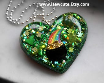 Luck Gift for Her, Green St Patrick's Day Necklace, Rainbow Resin Jewelry, Green Necklace, Cute Pot of Gold Green Heart Pendant by isewcute