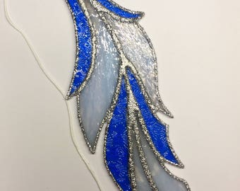 Blue and White Large Stained Glass Feather