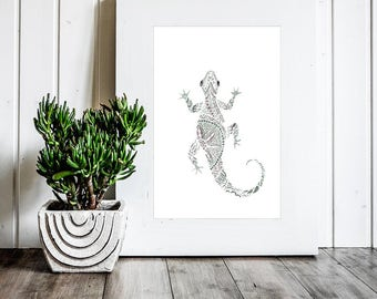 Gecko - Gecko Printable - Digital Download - Gecko Art - Lizard Art - Lizard Printable - Nursery Decor - Lizard Wall Art - Lizard Decor