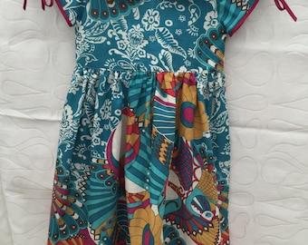 Girls summer dress, toddlers beach dress size 4, girls dress with Peter Pan collar,