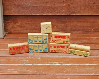 6 Old Wood Blocks, Vintage Train Car Blocks, Vintage Toy Blocks, Wooden Train Blocks, Building Blocks, Vintage Decor