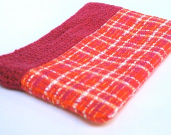 Pink Check Clutch Bag - Fabric and Wool