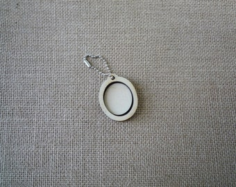 """Oval Wooden Mini Embroidery hoop for Necklaces or pendants - 1"""" size"""