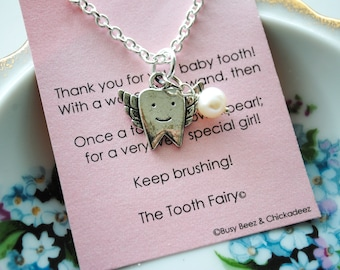 Tooth Fairy Necklace - Tooth  Fairy Gift - Girl's Necklace - Tooth Fairy Pillow, Lost Tooth Gift