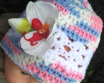 Handmade crochet baby beanie fits New born to 12 months,   white, pink and light blue colors, Photo prop hat, Baby shower, and Silk orchid