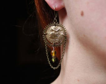Steampunk girl earrings