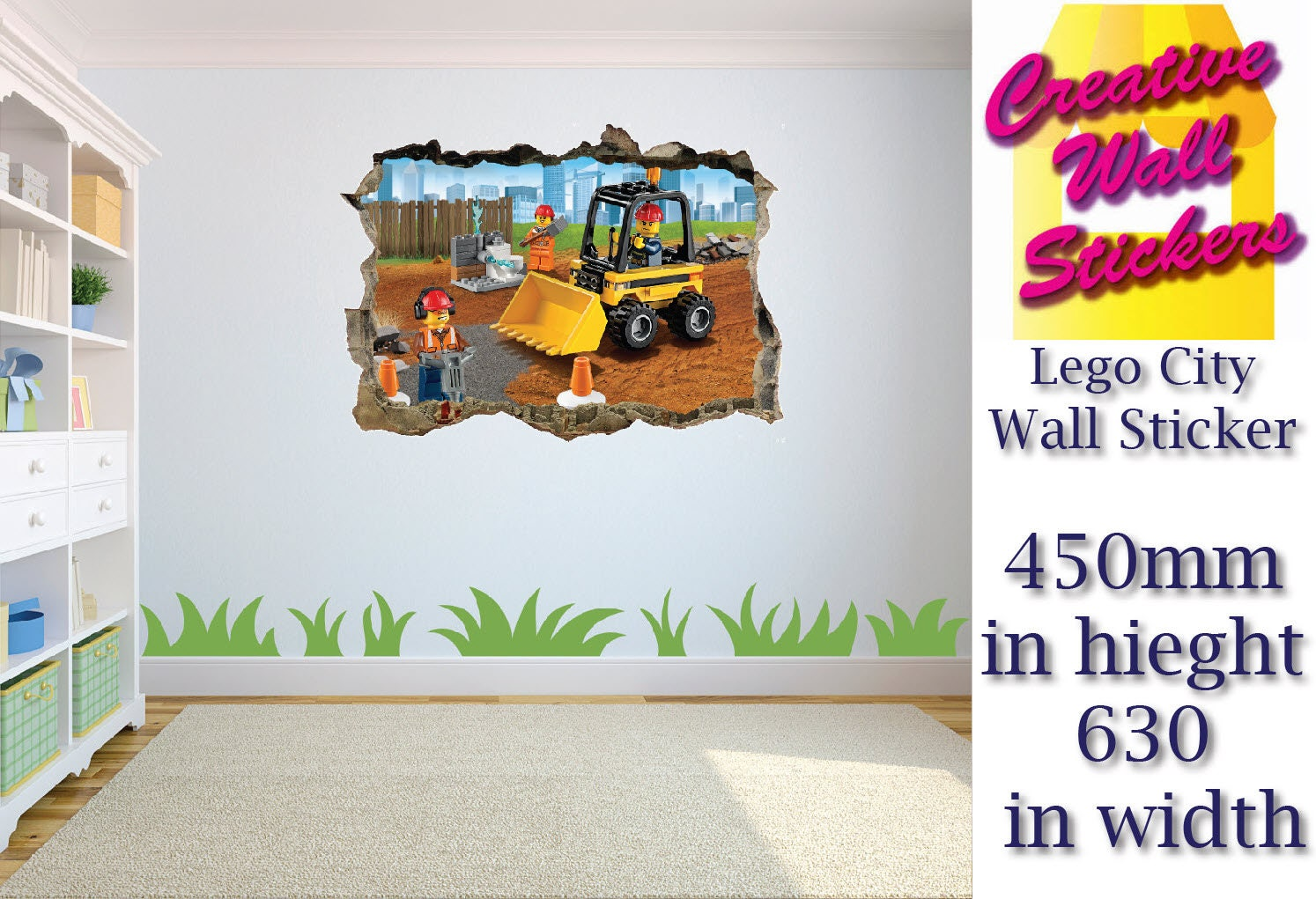 Lego City Wall Sticker 3d Effect Hole In Wall Kids Bedroom