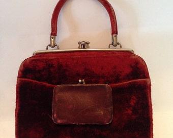 Red Velvet Victorian/Edwardian Handbag
