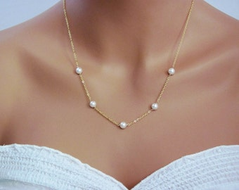 Delicate Gold Handwrapped Pearl Necklace- simple, elegant, bridal jewelry, bridesmaids gifts, also available in silver.