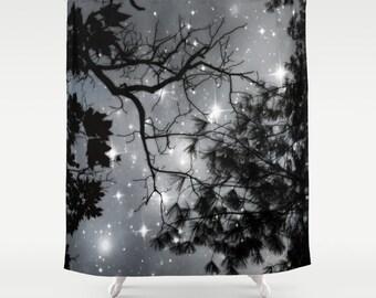 Starry Night Shower Curtain Stars Bathroom Black And White Home Decor Tree