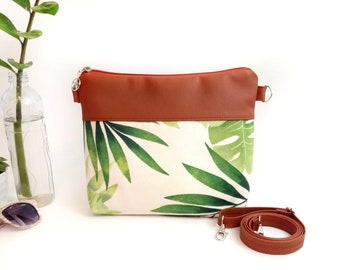 Crossbody bag Mothers Day Gift Cross body Purse Tropical Shoulder Handbag Gift for woman Crossbody bags Vegan Canvas Handbags Gift for Mom