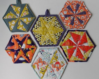 Hexie Pinwheel and Hexie Star Pot Holder and Coaster pdf pattern