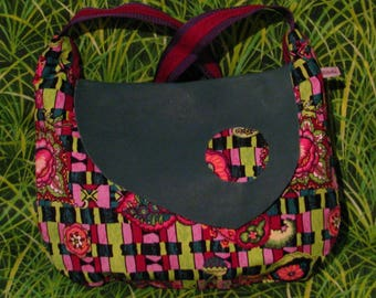 S312 velvet bag print pink flowers and lime with green leather flap
