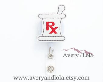 Prescription Badge Reel, Pharmacy Badge Reel, Rx Badge Reel, ID Holder, ID Badge Holder, Nurse Gift, Pharmacist Gift