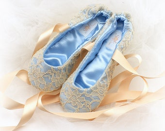 Something Blue Wedding Flats Shoes Blue Ballet Flats Champagne Gold Ballet Shoes Baby Blue Flats Ballet Slippers Bridal Shoes