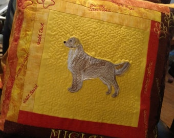 Golden Retriever Custom Embroidered Pillow