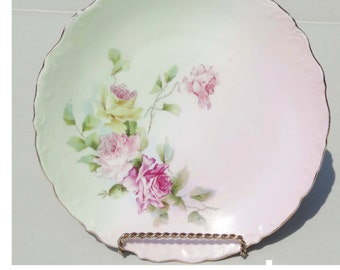 Germany Dinner Plate Gold Leaf China White Pink Yellow Home and Garden Kitchen and Dining Serveware Tableware Plates