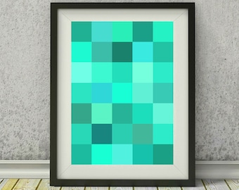 Turquoise squares print - abstract wall decor - turquoise abstract art - turquoise art - instant download digital print - geometric art
