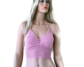Bohemian crochet bustier top-Sweetheart Pink-Festival crochet halter top -Size Medium to large