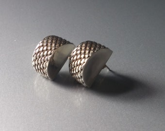 Vintage Sterling Silver Woven stud Earrings lightweight