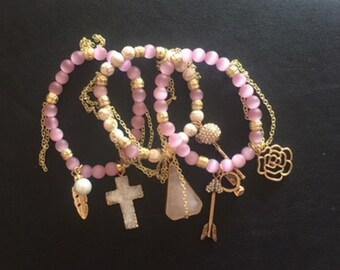 Pink and Gold Gemstone Druzy Bracelet Stack