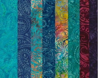 Fat Quarter Fabric Bundle-Tonga Paisley Batiks-Timeless Treasures